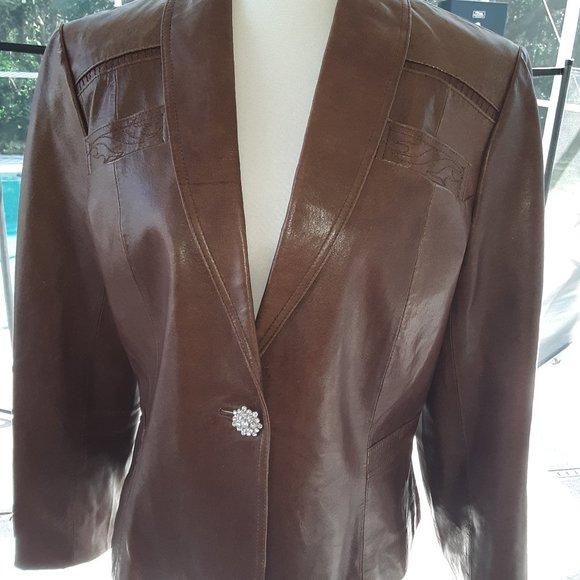 Vintage Black Rivet 100% Leather Jacket